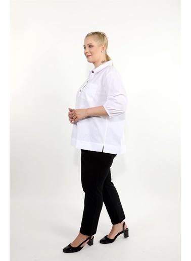 Luokk Trınıtı Cep Detaylı Rahat Kesim Kadın Gömlek Beyaz